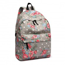 E1401F - Miss Lulu Large Backpack Flower Polka Dot Grey